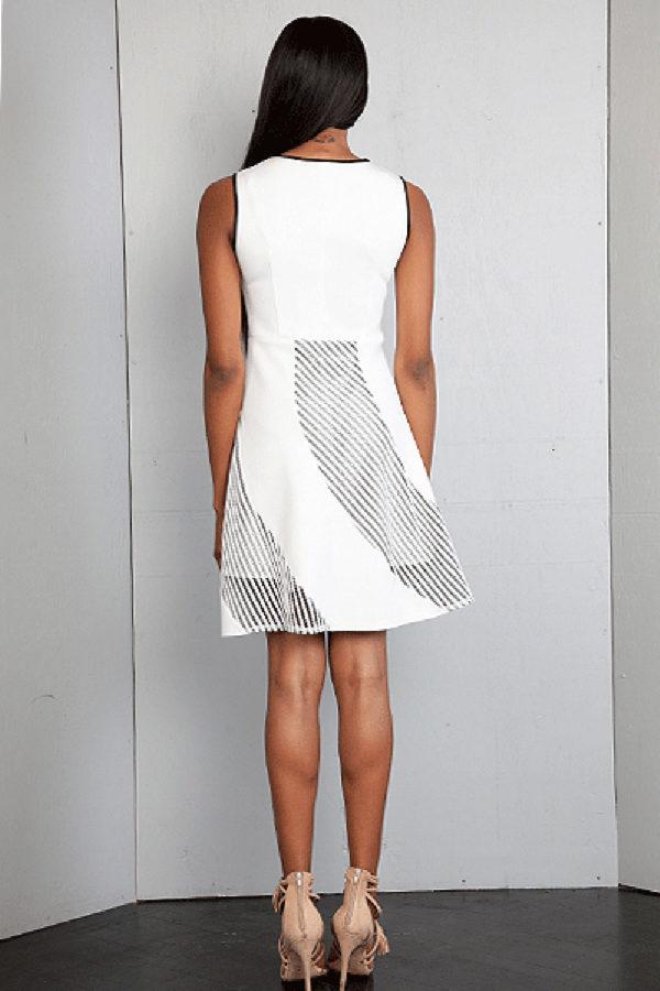 white scuba net dress- back