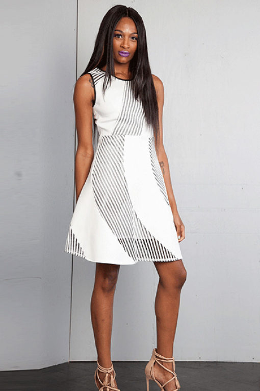 white scuba net dress- front