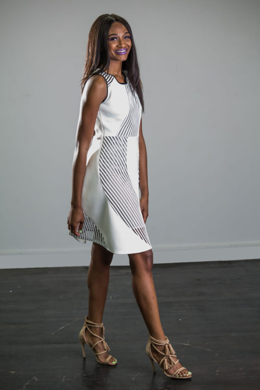 white scuba net dress- side