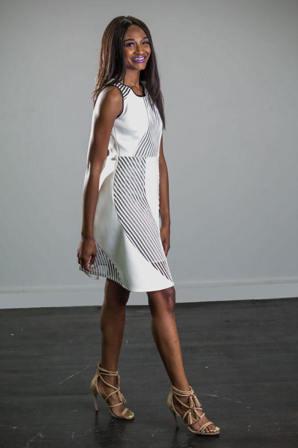 white scuba net dress- side