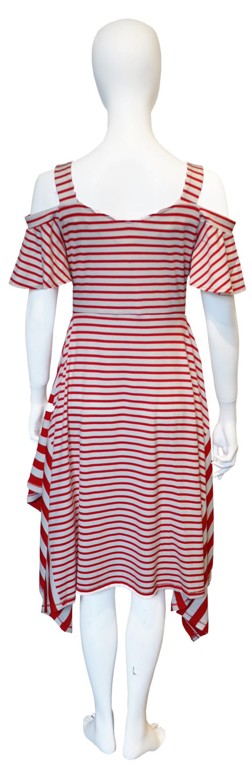 red striped dress- back