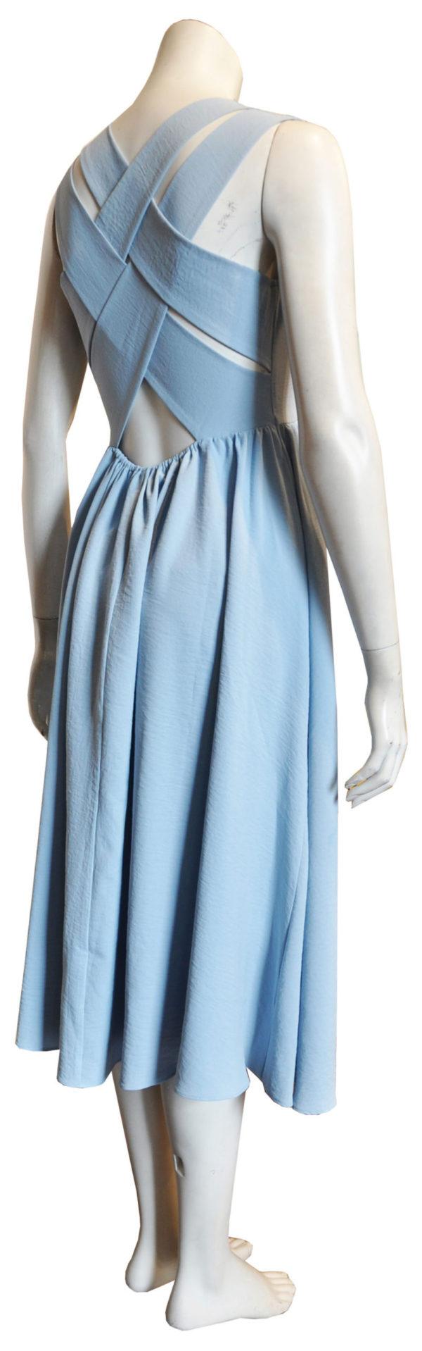 blue cross back dress- back