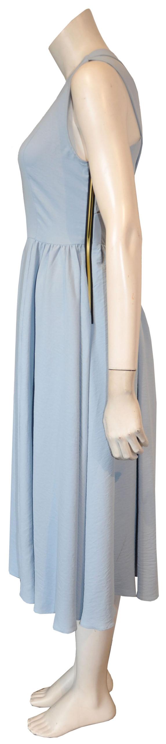 blue cross back dress- side