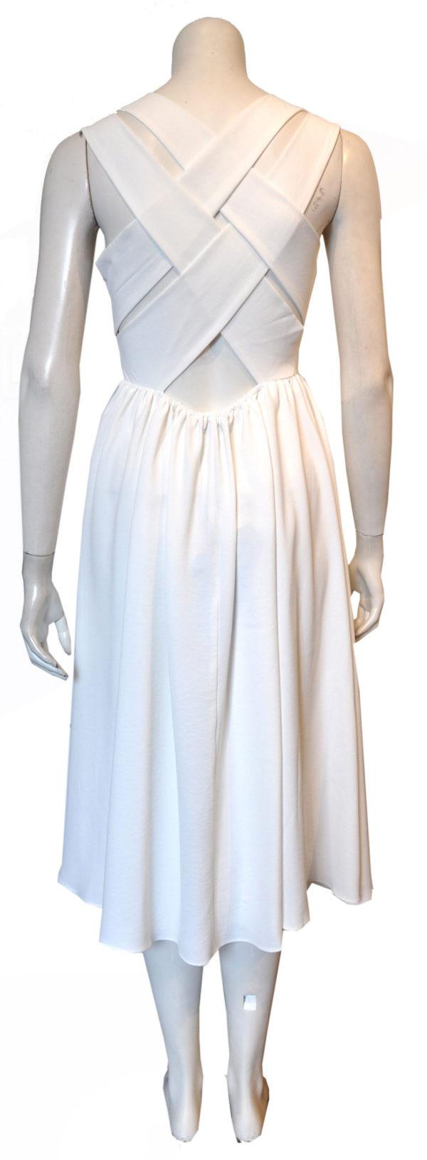 white cross back dress- back