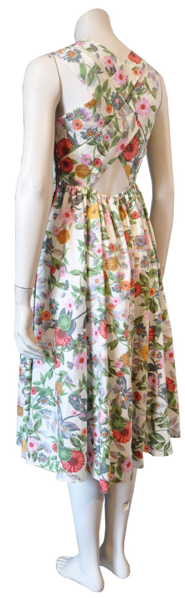 floral cross back dress- back