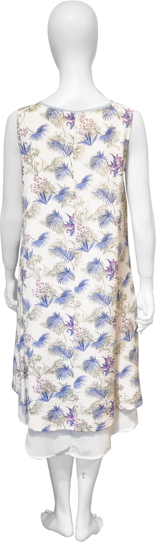 feather printed blue dress- back