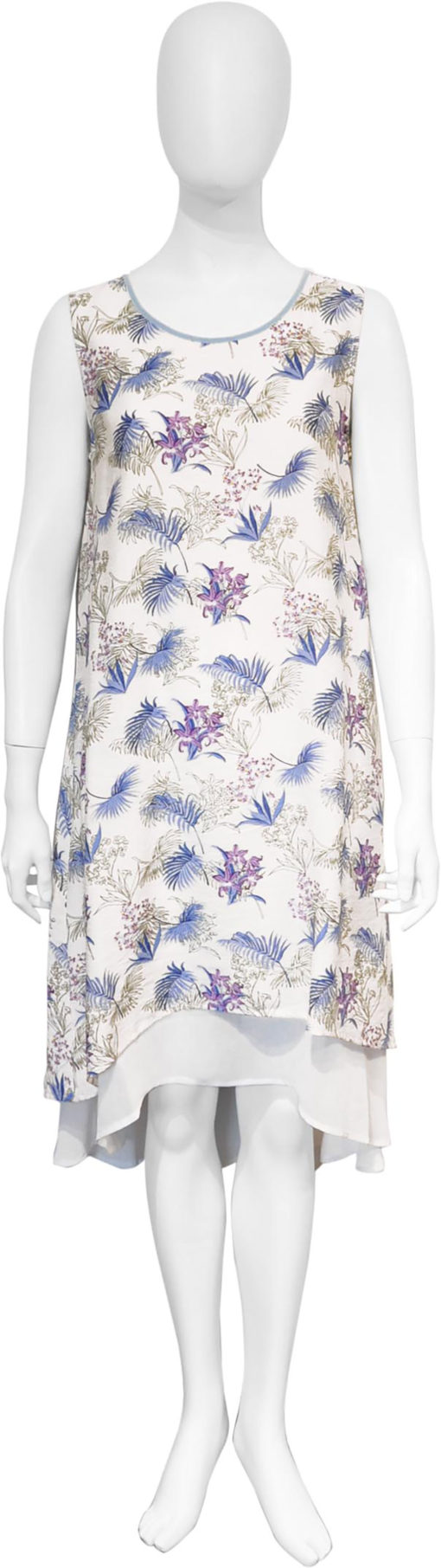 feather printed blue dress- front