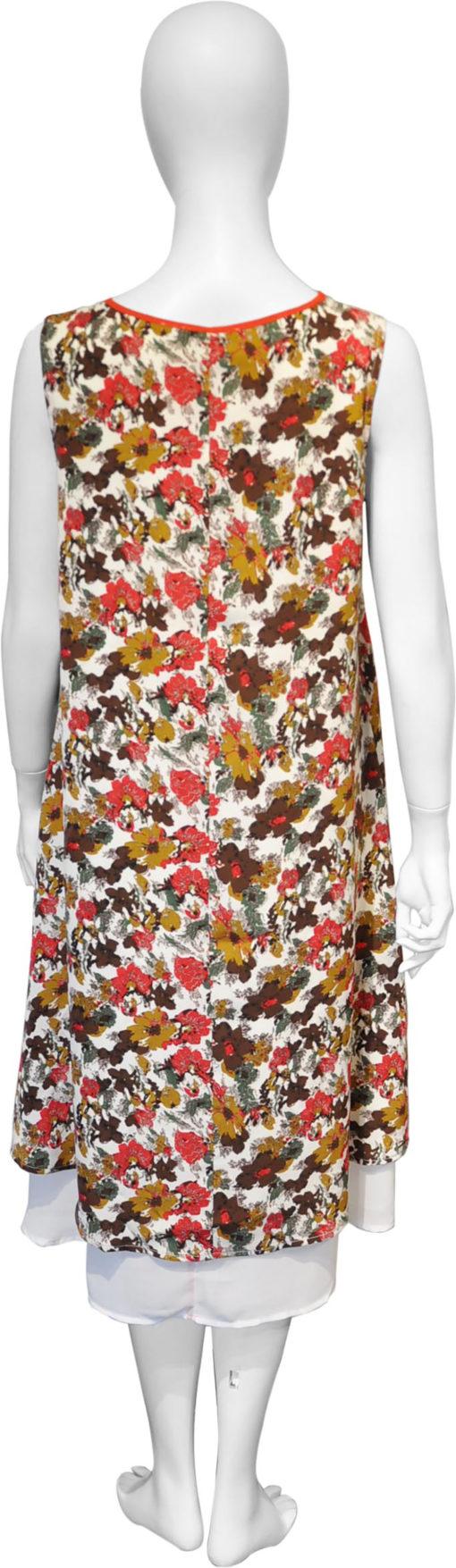 floral printed red dress- back