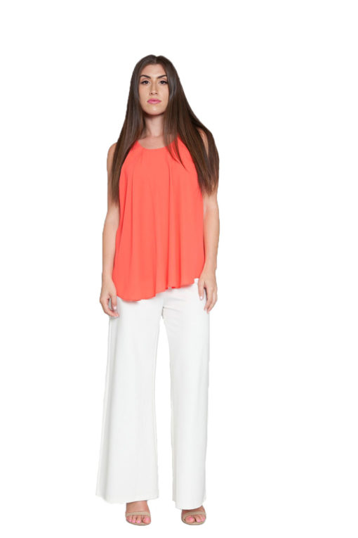 peach sleeveless top- front