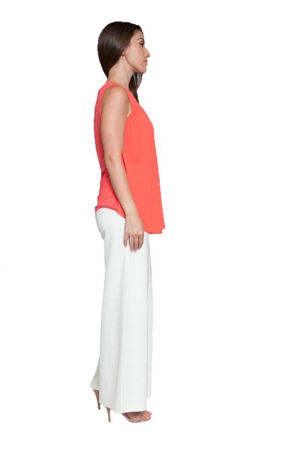 peach sleeveless top- side