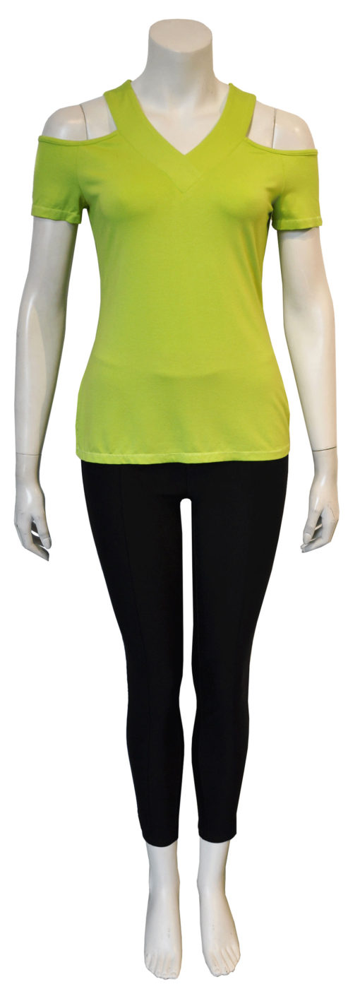 lime cold shoulder v neck top- front