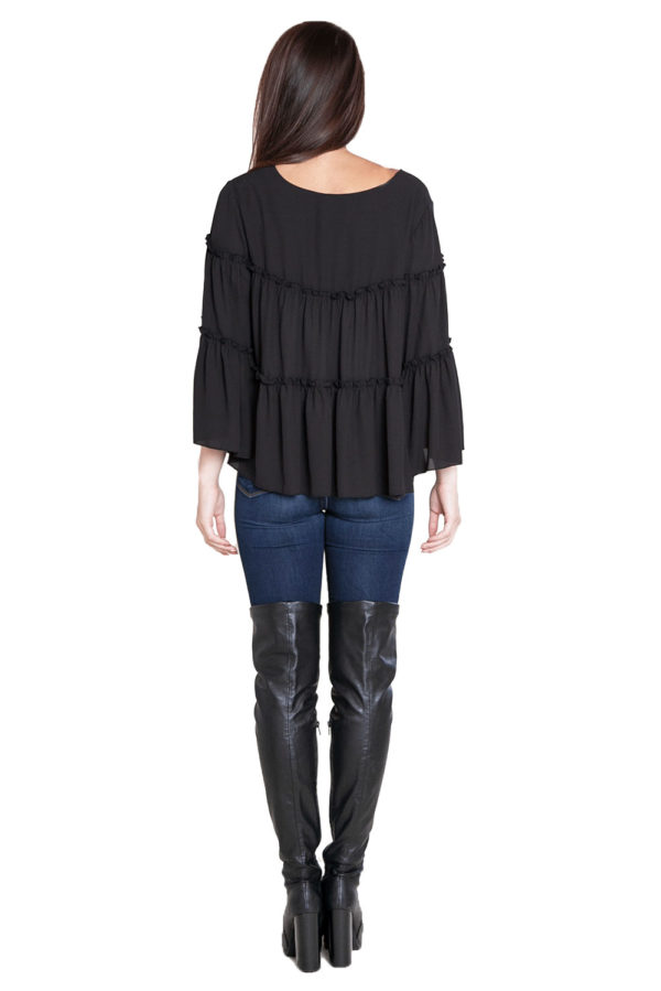 black ruffle top= back