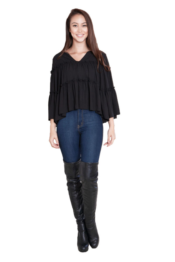 black ruffle top- front