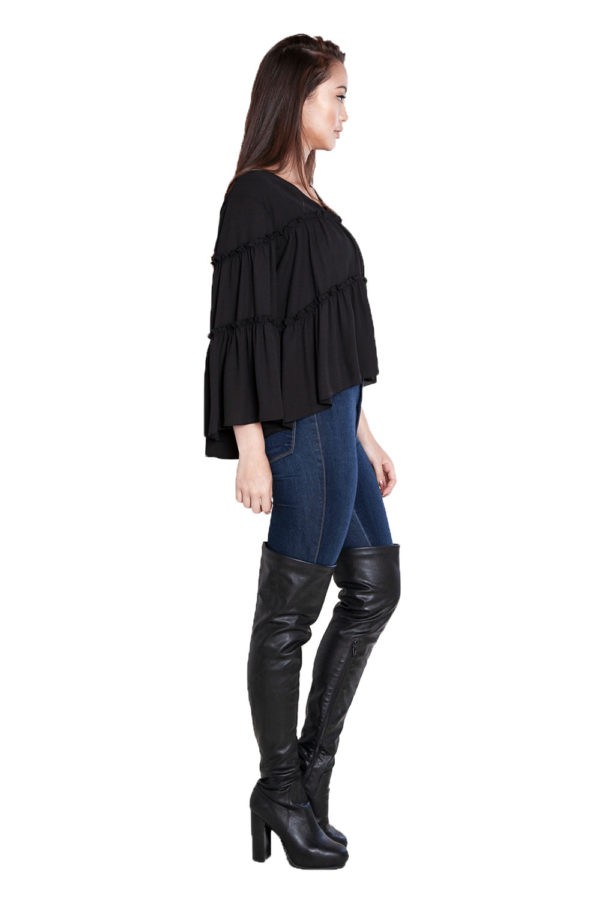 black ruffle top- side