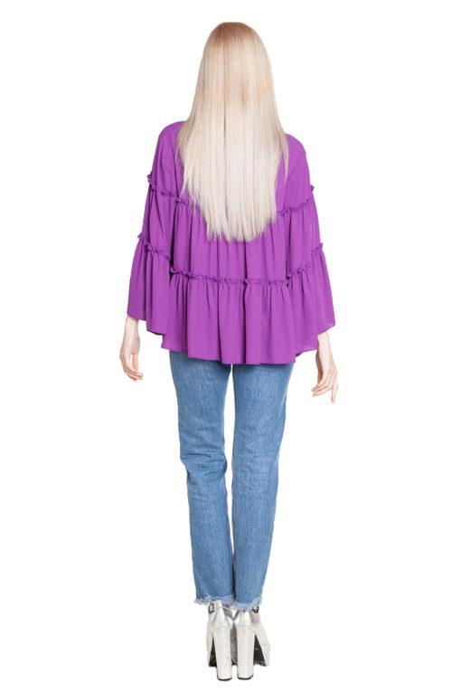 purple ruffle top- back