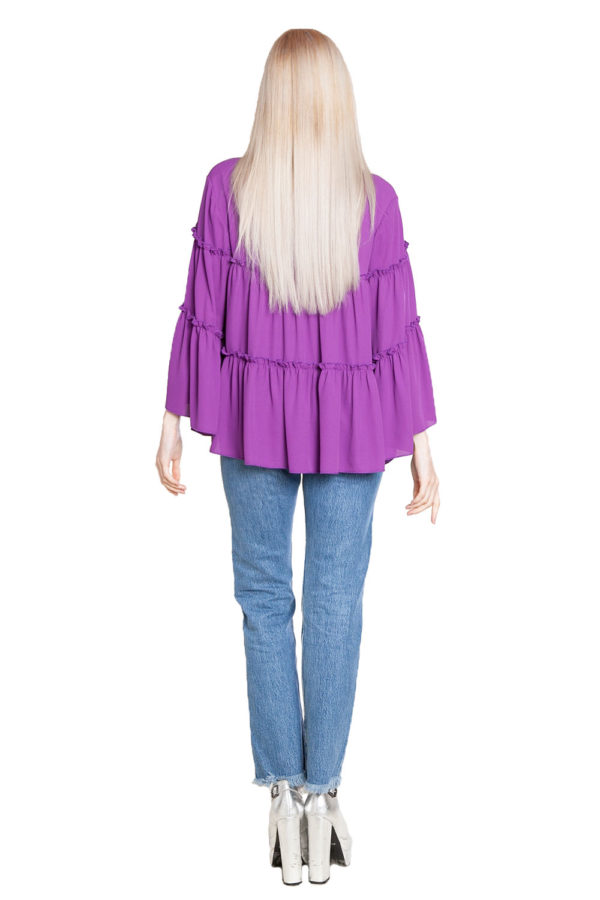 purple ruffle top- back
