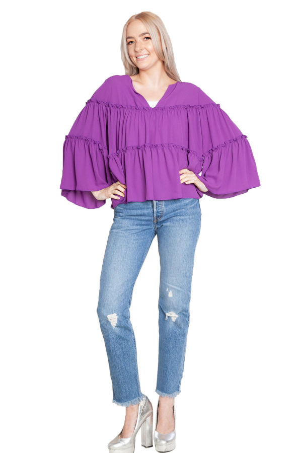 purple ruffle top- front