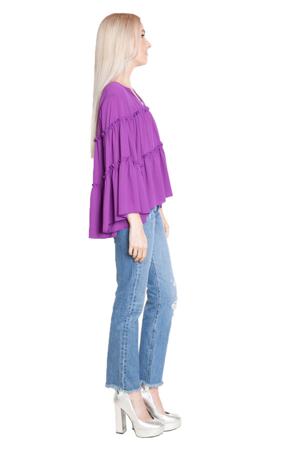 purple ruffle top- side