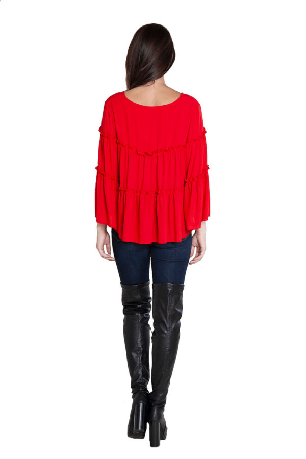 red ruffle top- back