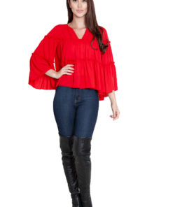 red ruffle top- front