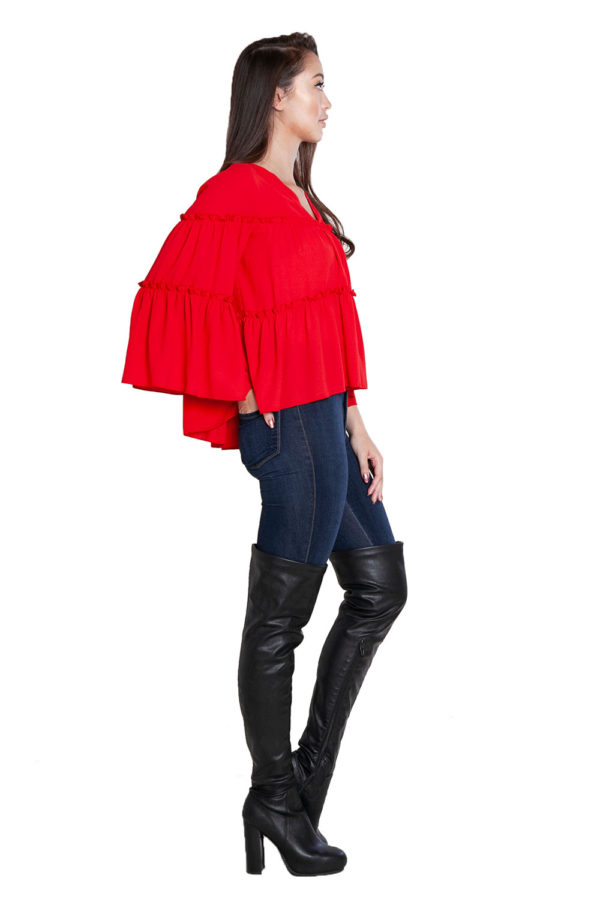 red ruffle top- side