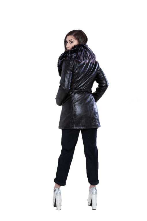 snake printed faux fur mid length black jacket- back