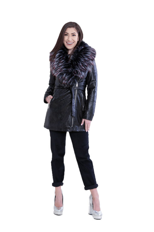 snake printed faux fur mid length black jacket- front