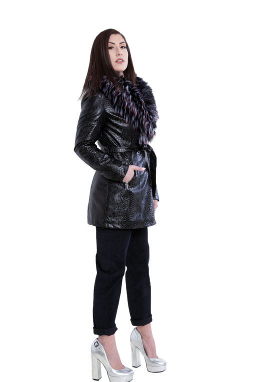 snake printed faux fur mid length black jacket- side