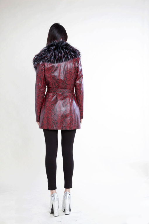 snake printed faux fur mid length red jacket- back