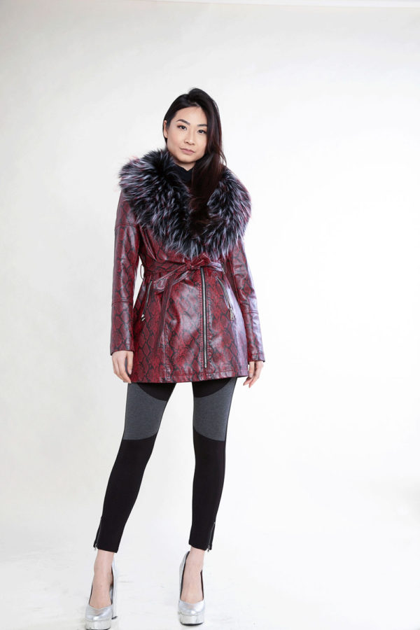snake printed faux fur mid length red jacket- front