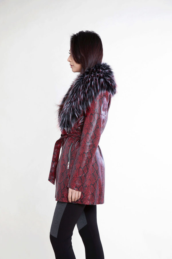 snake printed faux fur mid length red jacket- side