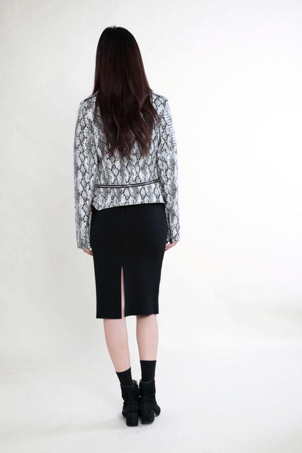 black and white snake print jacket- back
