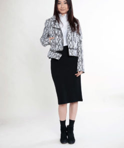 black and white snake print jacket- front