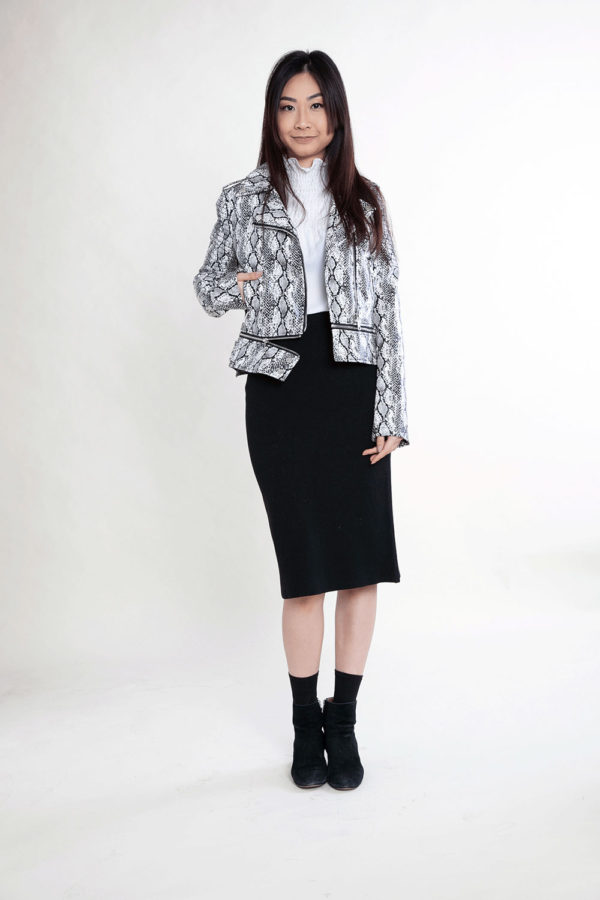 black and white snake print jacket- front