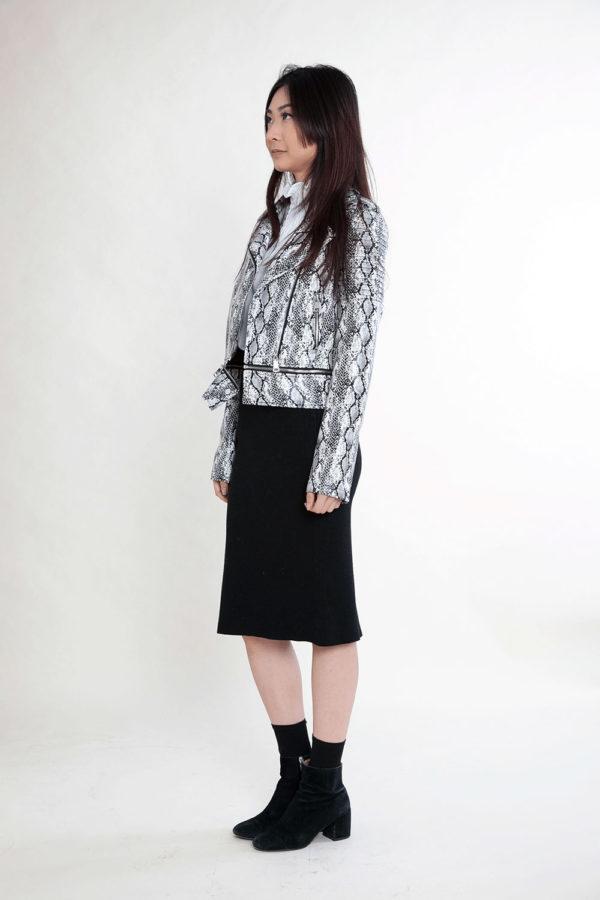 black and white snake print jacket- side
