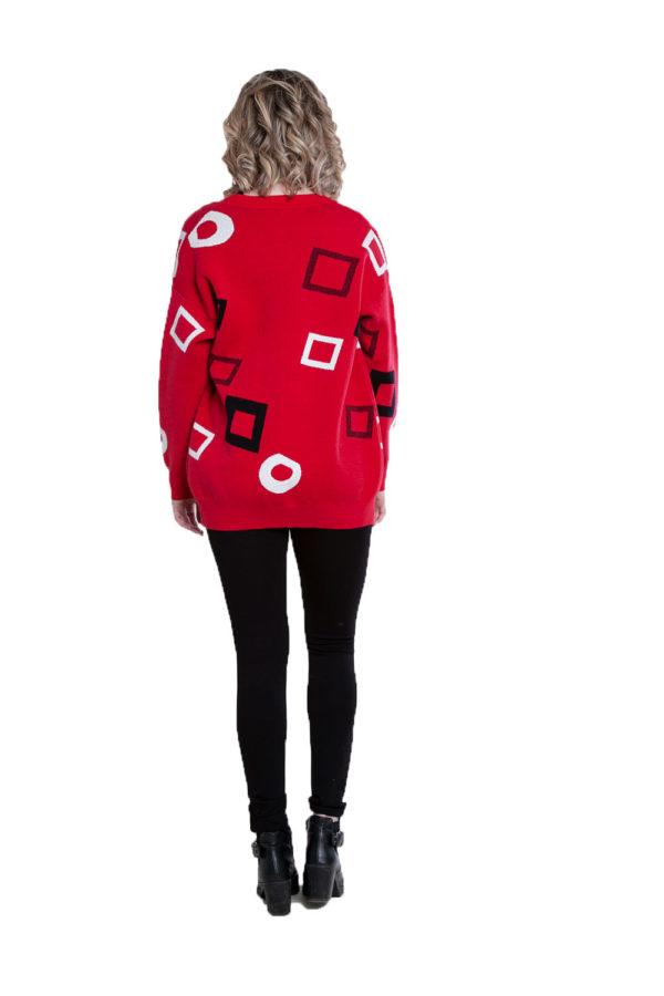red geometric printed knit cardigan- back