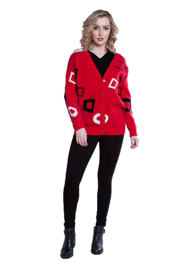 red geometric printed knit cardigan- front