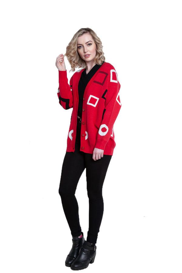 red geometric printed knit cardigan- side