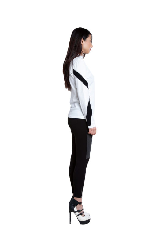 black color block jeggings- side