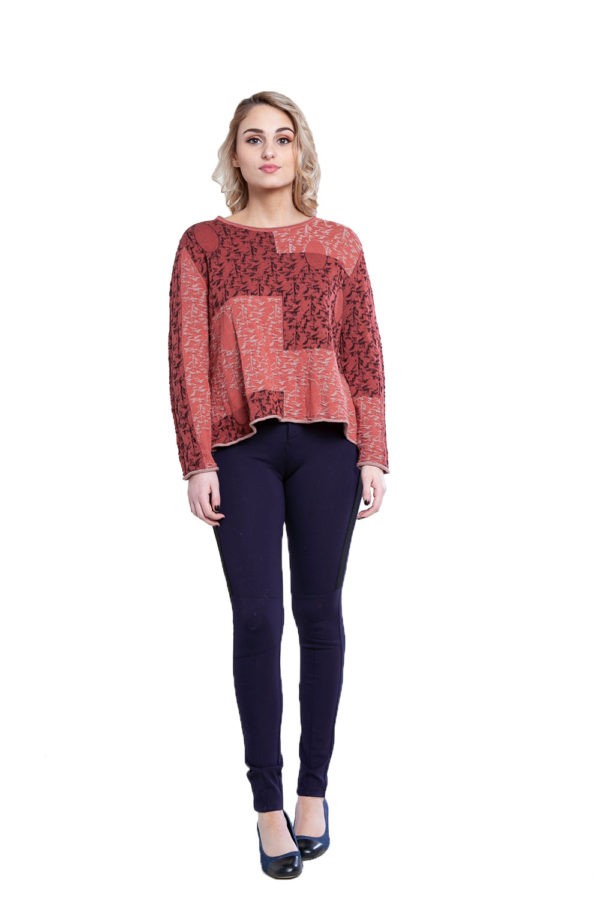 pink patchwork detail top- front