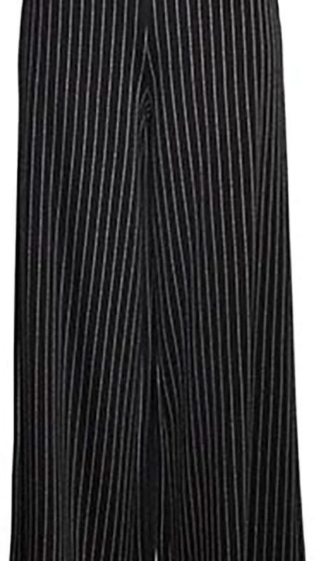 zip top wide leg black stripe pants- front