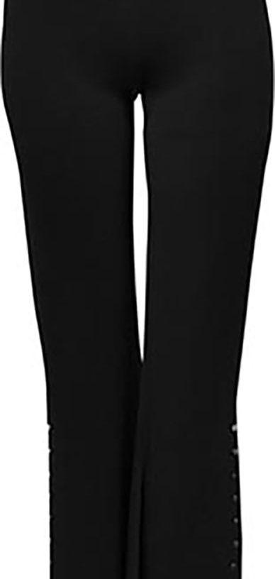 black side slit pants- front