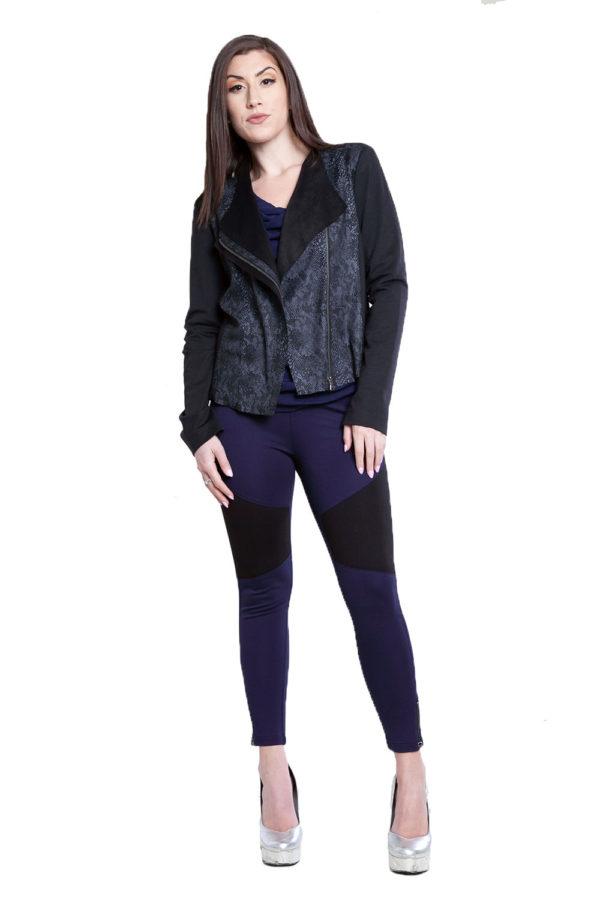 black and grey snake printed overlay jacket- front