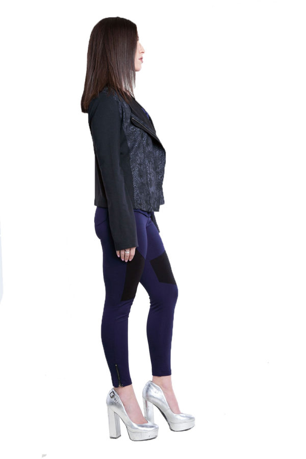 black and grey snake printed overlay jacket- side