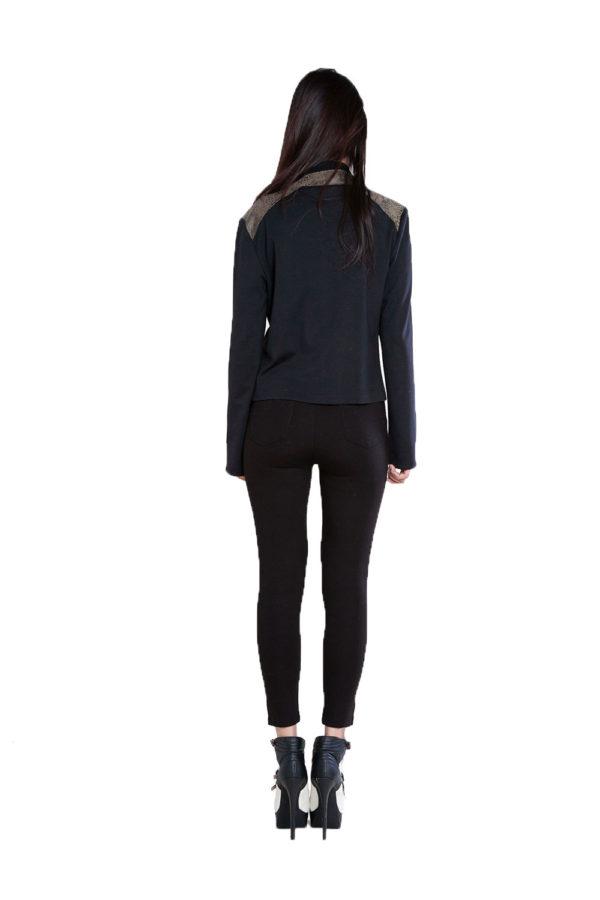 black and olive snake printed overlay jacket- back