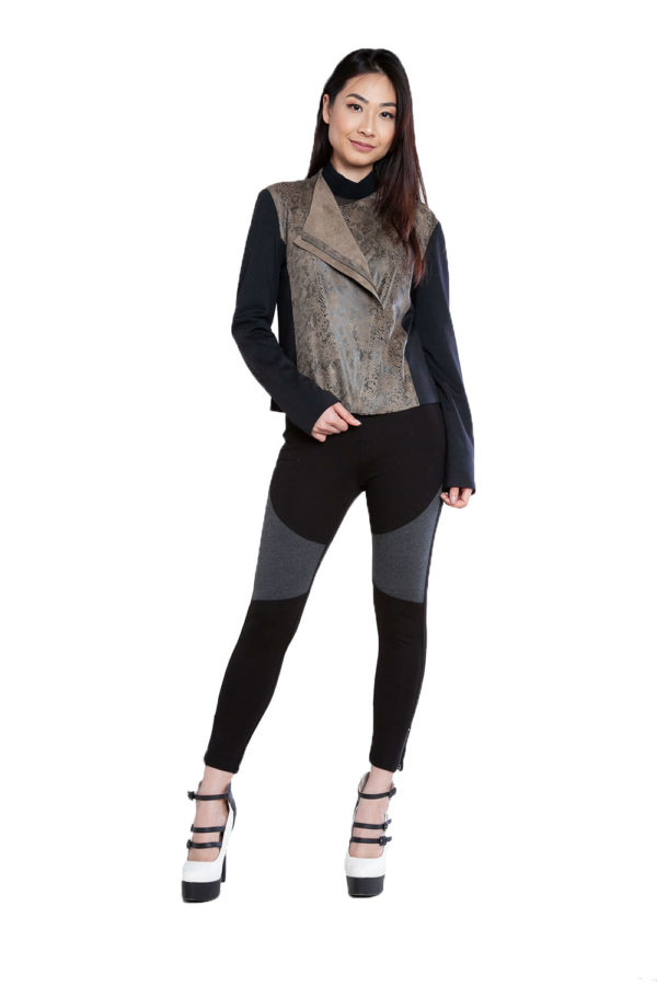 black and olive snake printed overlay jacket- front
