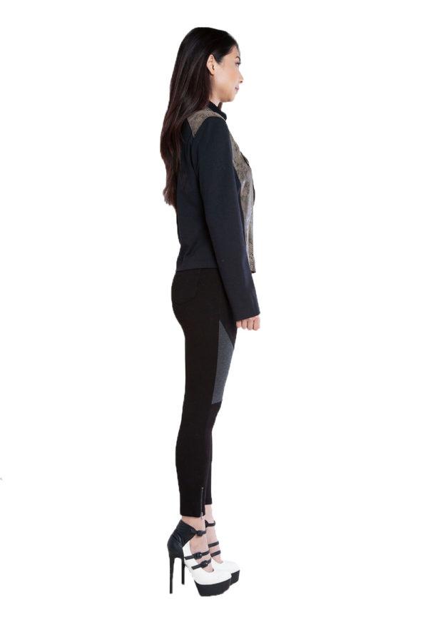 black and olive snake printed overlay jacket- side