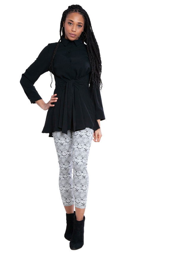 black tie waist blouse- front