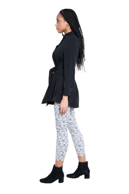 black tie waist blouse- side