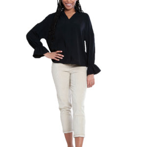 black v neck blouse- front